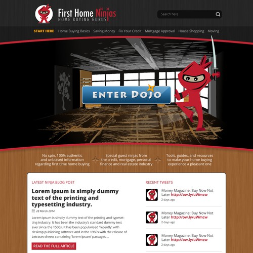 Create a fun homepage for FirstHomeNinjas.com