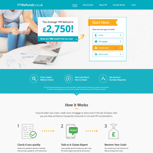 PPI Refunds Landing page