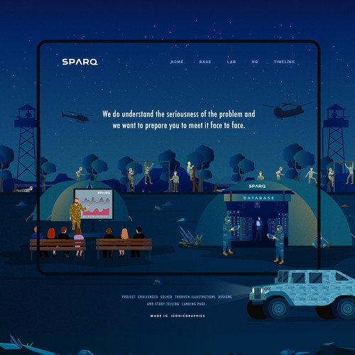 Sparq Storytelling Landing Page and Illustrations