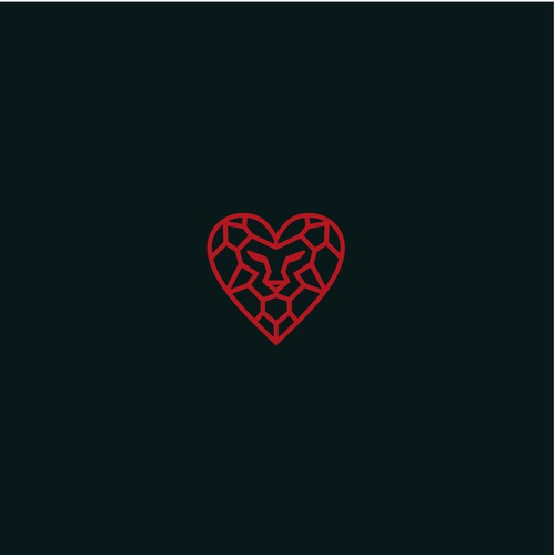 Lion Face with heart icon