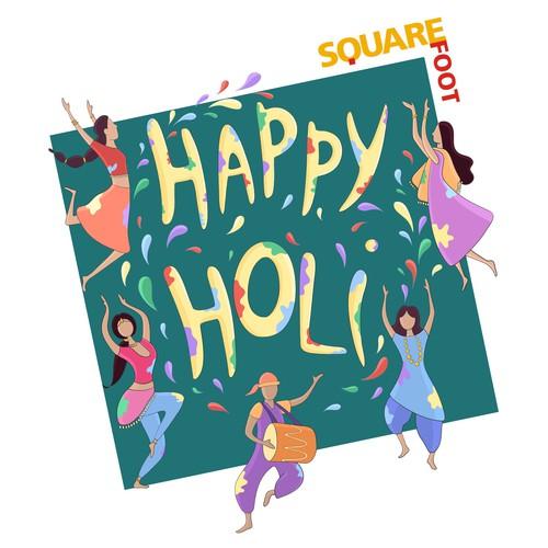 illustration made to showcase the festival of colours in India (Holi festival