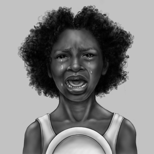 Hungry African Child Illustration