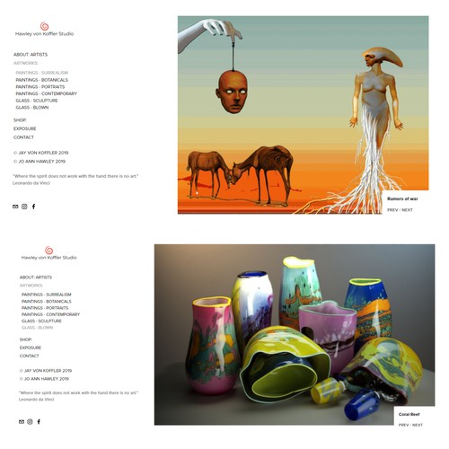 Website - Artist (Paintings, Sculpture, Glass)