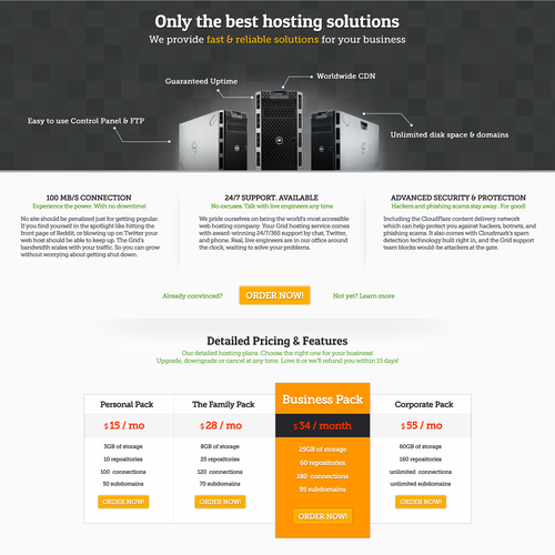 Dedicated hosting only landing page