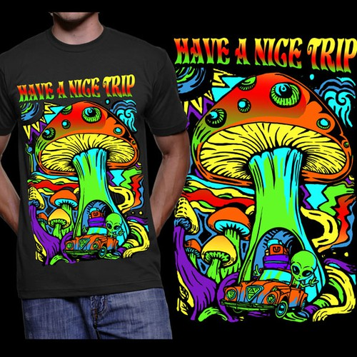 Create a trippy black light poster style MUSHROOM tee!
