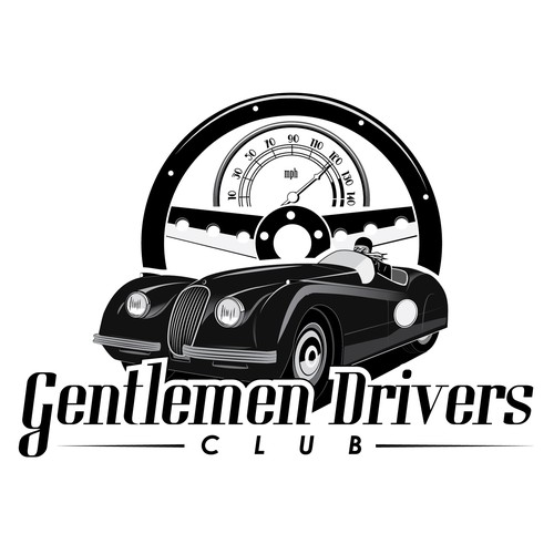 A vintage and elegant logo for a Gentlemen Drivers Club
