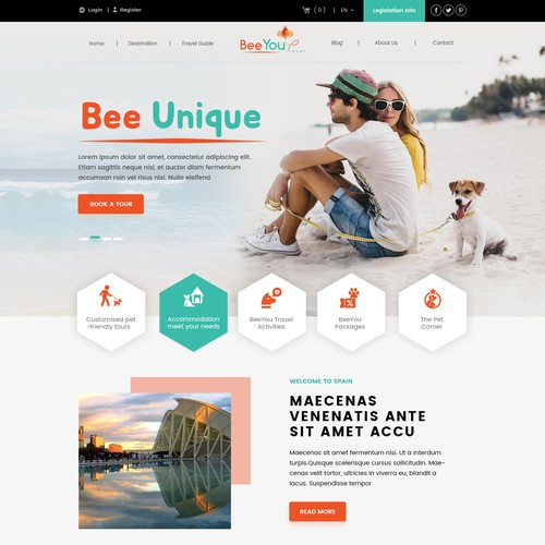 The new company BeeYou Travel needs a powerfull website for pet owners who love to travel.