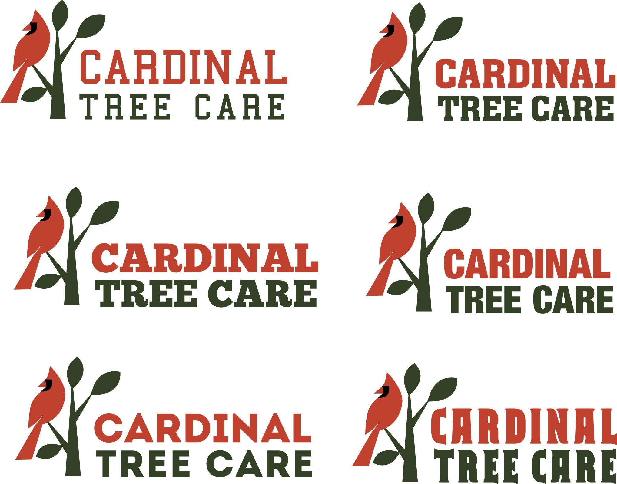 Create a bird inclusive logo for Cardinal Tree Care