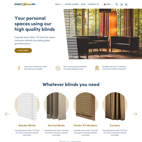 Design for window blinds ecommerce site