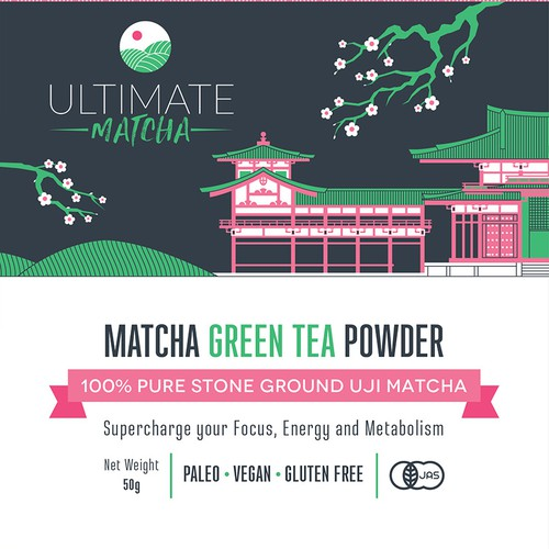 Matcha tea pouch packaging for Ultimate Matcha