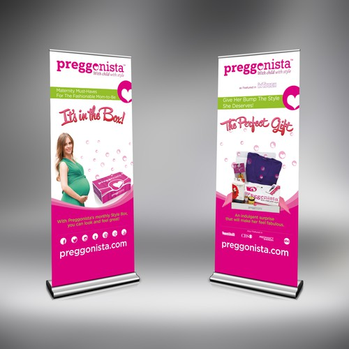 Create two (matching) tradeshow banners for our giftbox for pregnantwomen