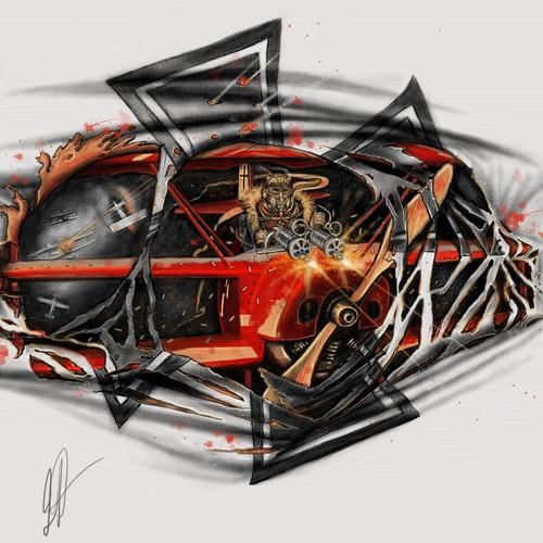 Badass Red Baron - WWI Fighter Pilot - Fighting Scene - Tattoo Design