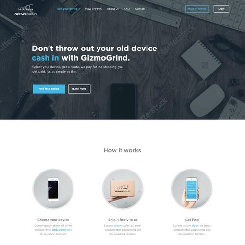 Homepage design for Gizmogrind