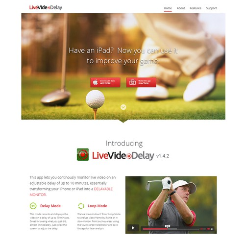 Help me make an awesome landing page for my iPad app LiveVideoDelay!