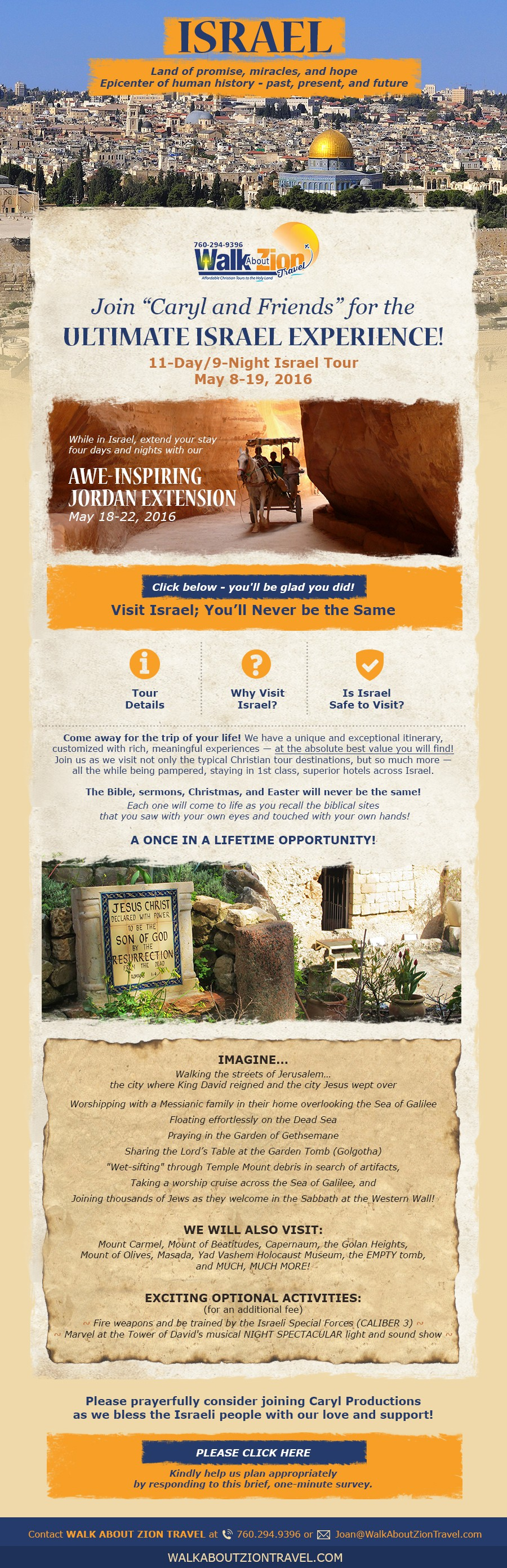 Create an email template for a travel agency for tours to Israel