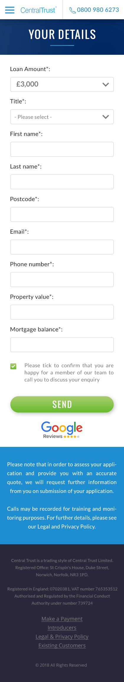 Home Page Banner & Form Application Page - Loan Company