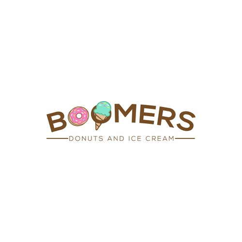 Colorful Playful Logo for Boomers Donuts and Ice Cream.