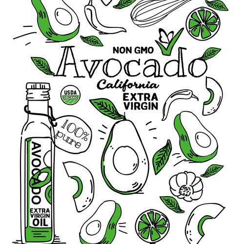 Unique and fun t-shirt design for a extra virgin avocado oil company.