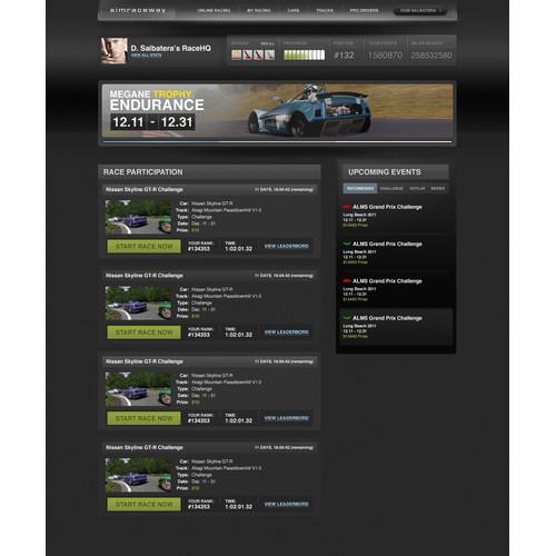 Simraceway.com // Race HQ re-design