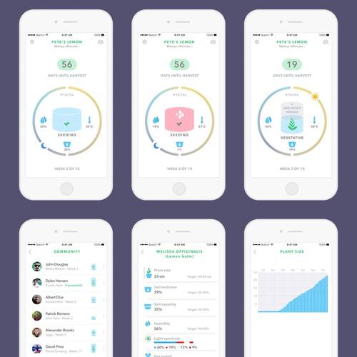 UI design for a smart home grow system