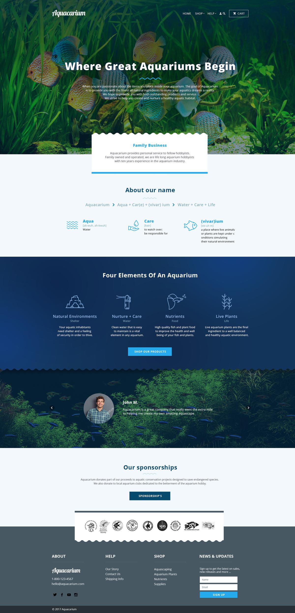 About Us Page for aquarium business