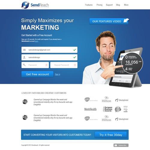 Create the next website design for SendReach