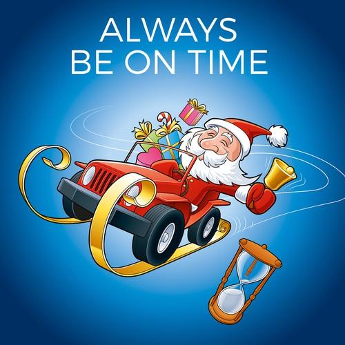 Create a fun, Christmas-Themed Illustration for an Automotive Marketing Company