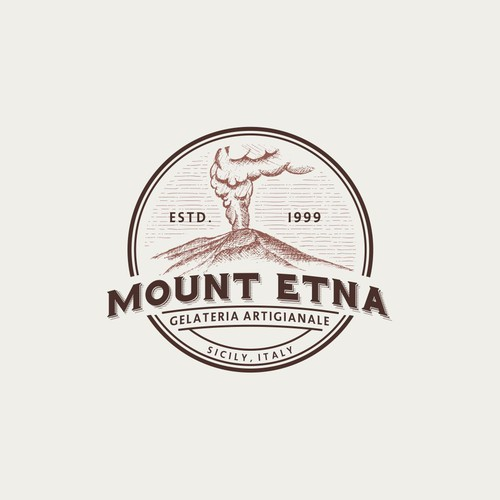 Hand-drawn logo of the great mount etna eruption