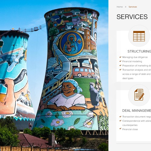 Website for a finance service company, depicting a modern, vibrant and industriuous Africa