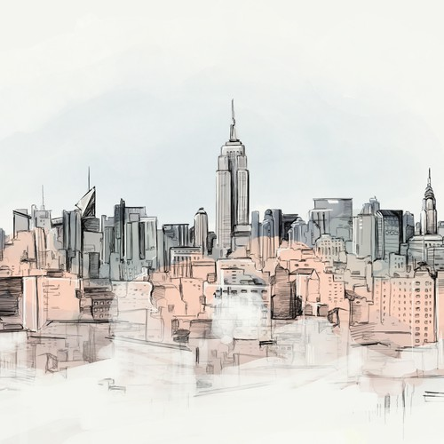 Illustratio - New York Skyline office view