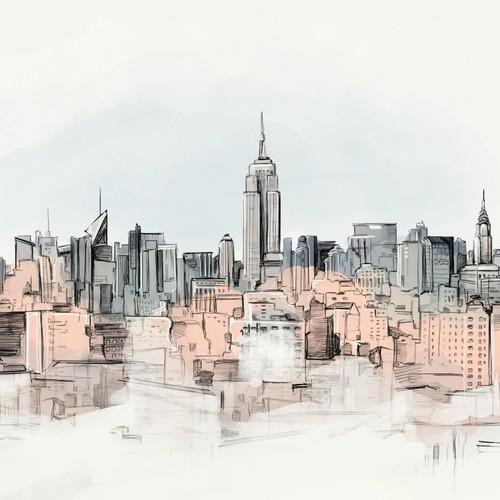 Illustratio - New York Skyline office view