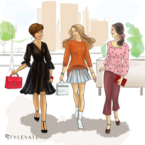 FASHION ILLUSTRATION WALKING GIRLS