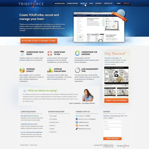 Website design for Tribeforce