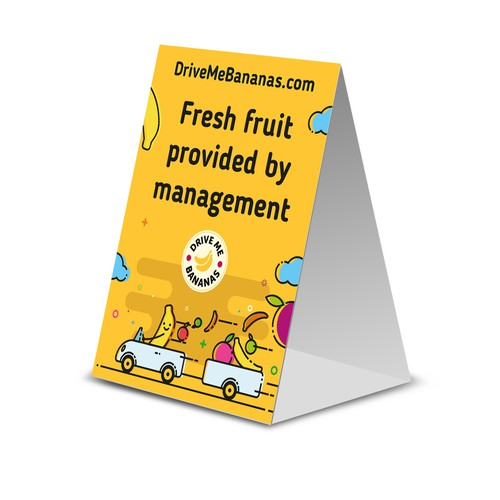 Tent card for DriveMeBananas.com