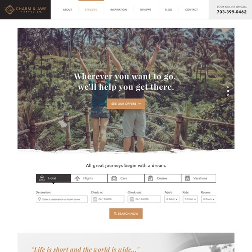 Landing page for luxury and corporate travel company.
