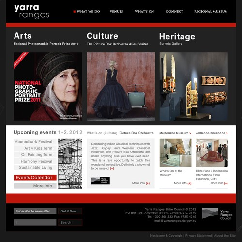Create the next website design for Yarra Ranges Arts Culture Heritage
