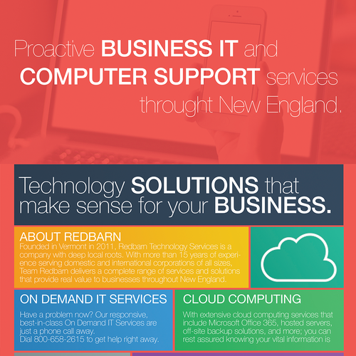 Flyer and postcard for Redbarn Technology Services