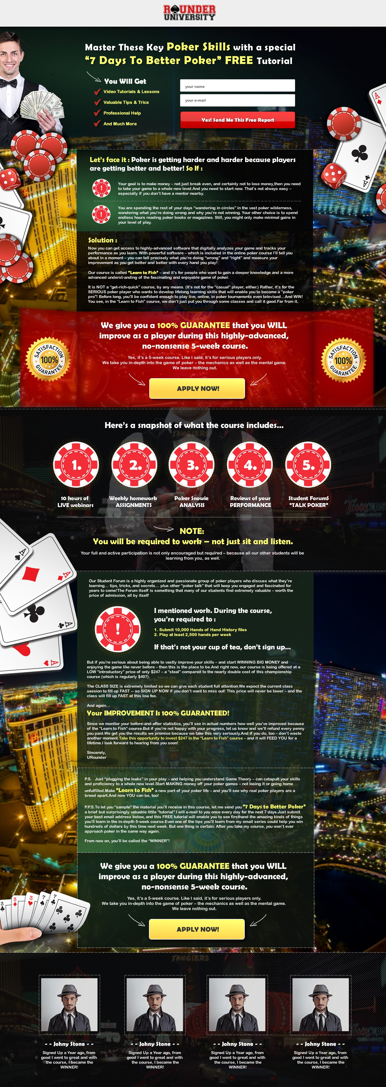 Create Online Poker Course Langing Page