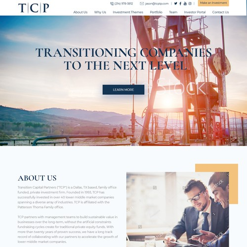 Website design concept for TCP