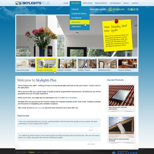 Skylights Plus needs a new website design