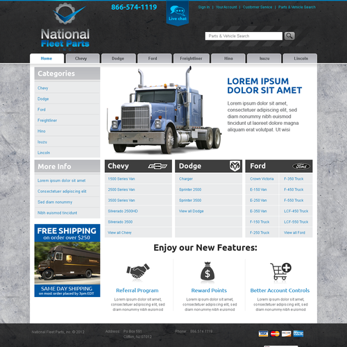 Website Design for Ecommerce Business - Truck Parts Retailer