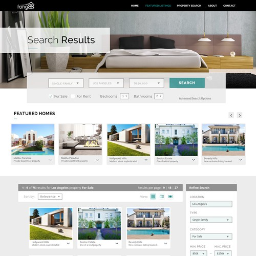 Real Estate Property Listing Search Results Page