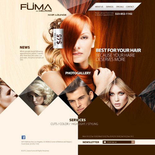 Create the next website design for Fuma Salon