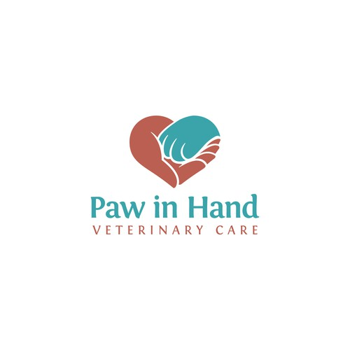 Pet Caring Logo Featuring Paw in Hand
