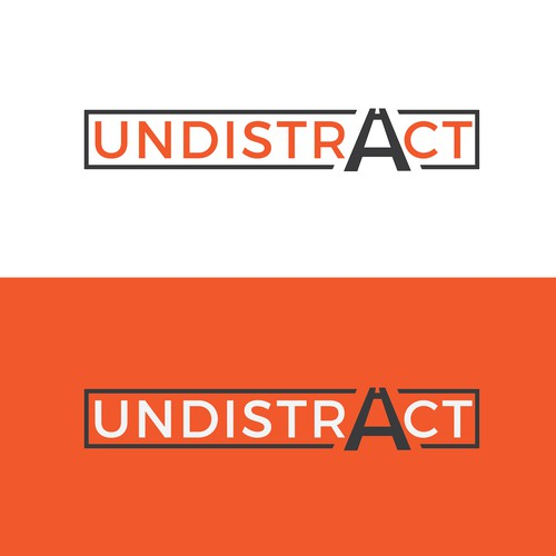 'Undistract your driving' logo design, manipulating the letter A to show a road.