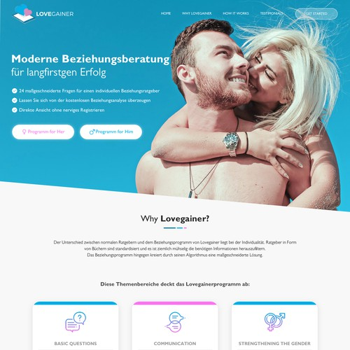 Homepage concept for Lovegainer