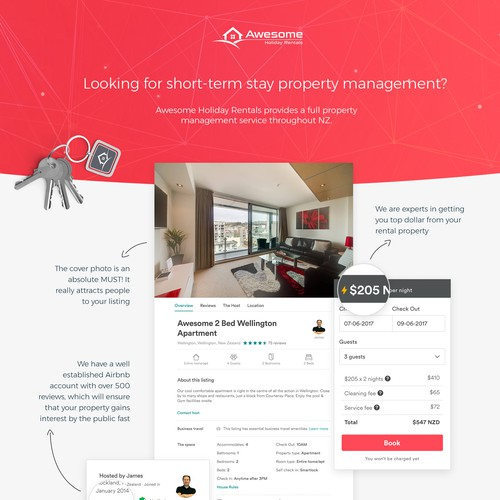 Landing Page for Awesome Holiday Rental