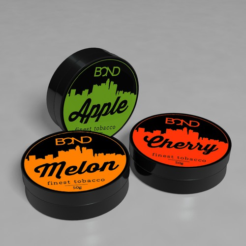 Create a label for a tin for a hookah tobacco product called BOND!