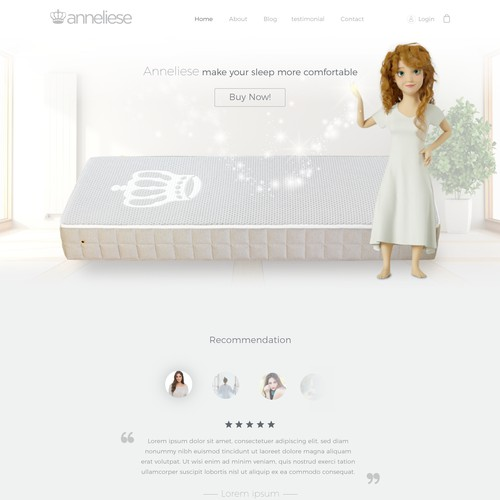 Create a homepage (online shop) for a new mattress called princess Anneliese