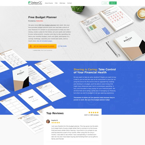 Realistic website design for budget planner selling conversion